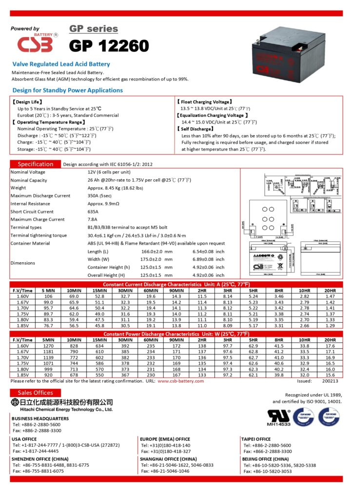 battery ups csb gp12260