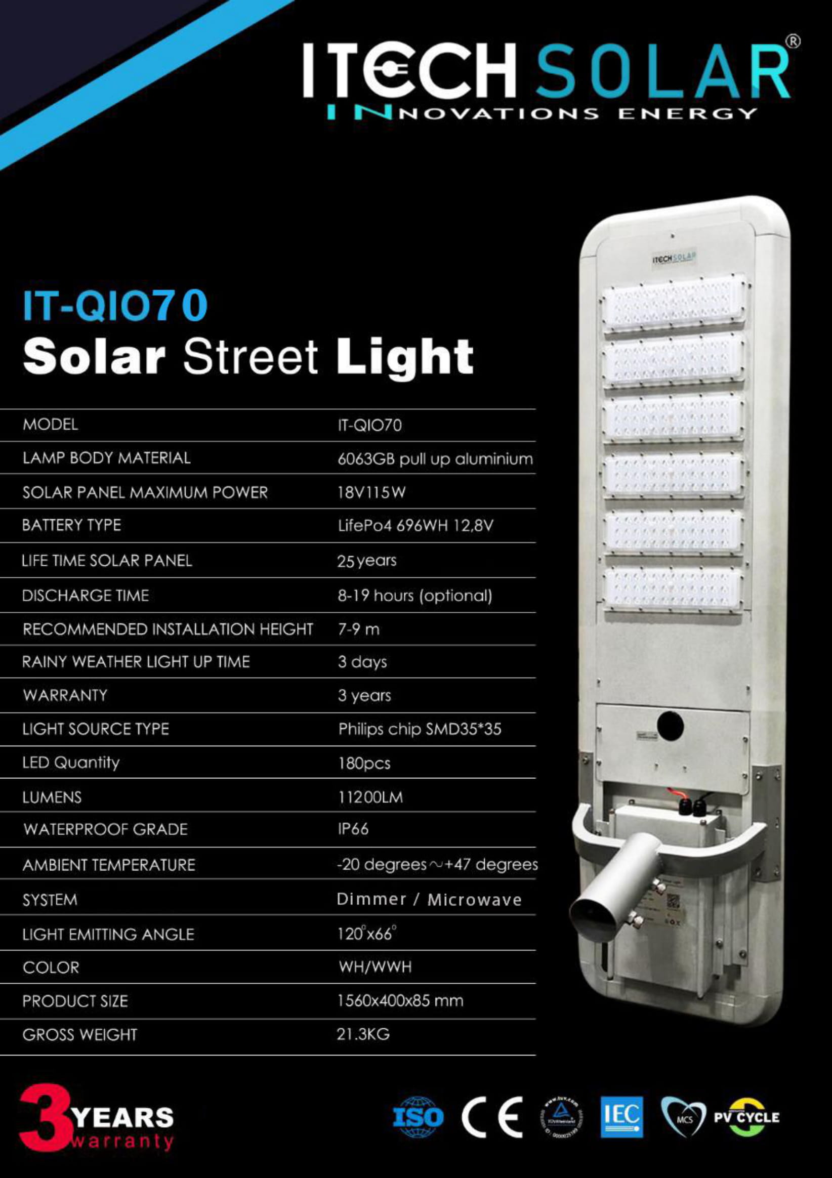 Lampu PJU all in One 70watt